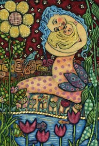 hugging-mum-and-newborn-infant-in-the-secret-garden-of-beauty-and-love-julie-ann-bowden-204x300